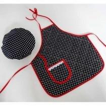 Kit Avental Infantil + Touquinha Mestre Cuca - Poá Preto - Recanto da costura