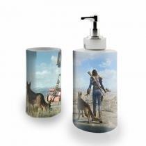 Kit Banheiro Saboneteira + Porta Escovas Porcelana Fallout 4 / 400ml (BD01) - Skin t18