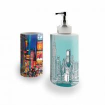 Kit Banheiro Saboneteira + Porta Escovas Porcelana New York City Cidade de Nova Iorque 400ml (BD01) - BD Net Imports