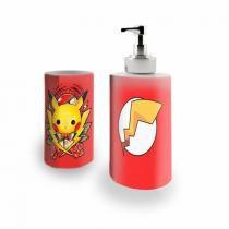Kit Banheiro Saboneteira + Porta Escovas Porcelana Pikachu Pokemon 400ml (BD01) - BD Net Imports