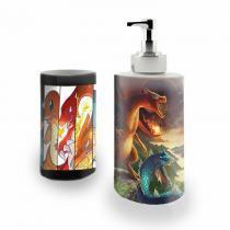 Kit Banheiro Saboneteira + Porta Escovas Porcelana Pokemon 400ml (BD01) - BD Net Imports