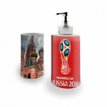 Kit Banheiro Saboneteira + Porta Escovas Porcelana Russia World Cup Copa do Mundo 400ml (BD01) - BD Net Imports
