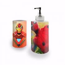 Kit Banheiro Saboneteira + Porta Escovas Porcelana The Avengers Os Vingadores Homem Aranha Spider-man Homem de Ferro Iron Man 400ml (BD02) - BD Net Imports
