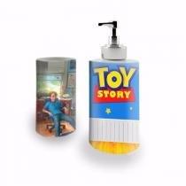 Kit Banheiro Saboneteira + Porta Escovas Porcelana Toy Story Andy 400ml (BD01) - Skin t18