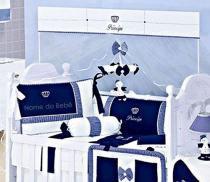 Kit Berço 8 Peças Luxo Coroa Listra Personalizado com Nome - Talismã