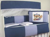 Kit Berço 9 Peças Branco e Marinho 100 Algodão Urso Marinheiro Listrado - Beybe