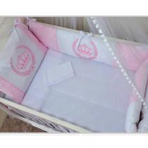 Kit Berço bordado 09 peças Lune baby rosa - Paulinha baby