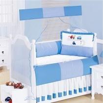 Kit Berço Rodovia 100 Algodão 08 Peças - Azul - Batistela Baby