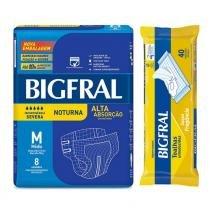 Kit bigfral fralda geriátrica noturna média 8 unidades + toalha umedecida adulto 40 unidades -
