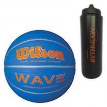 088b8f4720 Kit Bola de Basquete Wave Phenom 7 Wilson Azul com Laranja + Squeeze  Automático 1lt -