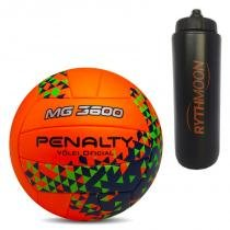 Kit Bola de Vôlei MG 3600 Fusion VIII Penalty Laranja Verde + Squeeze  Automático 1lt c5071f8d29056