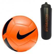 Kit Bola Futebol Campo Nike Pitch Team SC3166 Laranja Preto + Squeeze  Automático 1lt - 6bab78744142c