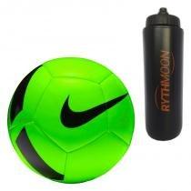 966af4e195 Kit Bola Futebol Campo Nike Pitch Team SC3166 Verde Preto + Squeeze  Automático 1lt -