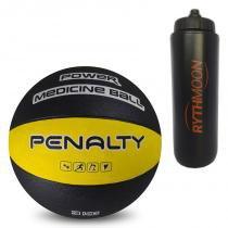 8feaa40b50 Kit Bola Medicine Ball de Borracha Penalty VI 3kg Amarelo Preta + Squeeze  Automático 1lt