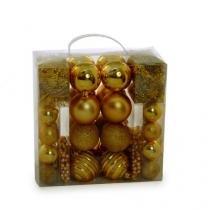 KIT Bolas Festões e Cordões para Arvore Ouro - 44 Peças - Cromus