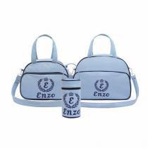 Kit Bolsa Maternidade Personalizada Personalizada Azul Bebê Com Marinho - 3 Peças - Evundile