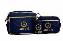 Kit Bolsa Maternidade Piquet Personalizada Azul Marinho Com Dourado - 3 Peças - Evundile