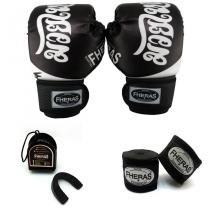 49354589c Kit Boxe Muay Thai - Luva Bandagem Bucal - Tailandês Preto - Fheras