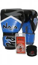 Kit Boxe Muay Thai - Luva New Extreme Azul Marinho + Bandagem (2,30 metros) Preta + Protetor Bucal S - 12 OZ - Naja
