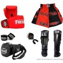 Kit Boxe Muay Thai Orion-Luva Bandagem Bucal Caneleira Anatomica Bolsa Shorts (Bicolor) 14oz - PT/VM - Fheras