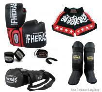9678e626e Kit Boxe Muay Thai Orion - Luva Bandagem Bucal Caneleira Bolsa Shorts  (Estrela 2)