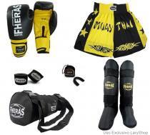 Kit Boxe Muay Thai Orion - Luva Bandagem Bucal Caneleira Free Style Bolsa Shorts(Bicolor) 10oz-PT/AM - Fheras