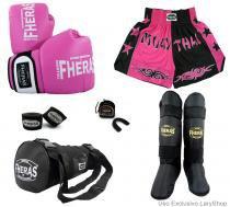 Kit Boxe Muay Thai Orion -Luva Bandagem Bucal Caneleira Free Style Bolsa Shorts(Bicolor) 14 oz-PT/RS - Fheras