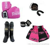 Kit Boxe Muay Thai Orion - Luva Bandagem Bucal Caneleira Free Style Shorts (Bicolor)  14 oz - Preto/Rosa - Fheras