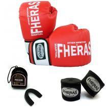 534fd83d3 Kit Boxe Muay Thai Orion -Luva Bandagem Bucal - Vermelho Branco - Fheras