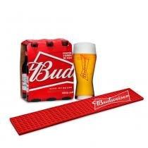Kit Budweiser: 1 Pack de Cerveja Budweiser 343ml + 1 Tapete para Copos Bar Mat + 1 Copo 400ml - Budweiser