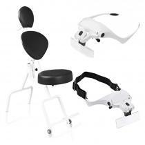 Kit - Cadeira de Maquiagem e Design de Sobrancelhas - Preta + Lupa de Pala Vision Power Estek - Ramsor