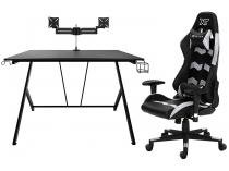 Kit Cadeira Gamer XT Racer Reclinável - Preta e Cinza + Mesa Gamer