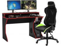 Kit Cadeira Gamer XT Racer Reclinável  - Preta e Verde + Mesa para Computador