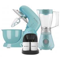 Kit Cadence Colors Azul - Batedeira - Cafeteira - Liquidificador -