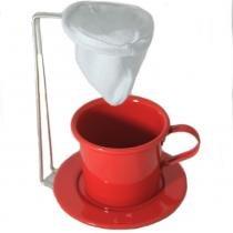 Kit Café Gourmet Caneca 180ml Alumínio Vermelho com Coador - Alumiart