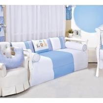 ff87f04e8c Kit Cama Babá Coleção Safari Azul 06 Peças - Laura baby