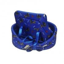 KIT Cama Europa com Almofada Dudu 19x40x50cm nº 3 Azul +  Bolsa de Transporte Dudu Azul Tamanho P Pet do Darin -