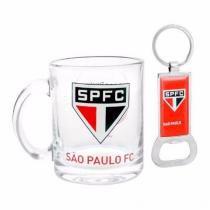 Kit Caneca Vidro E Abridor Oficial Licenciado São Paulo - Ravi