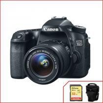 Kit Canon 70D com Objetiva 18-55mm f3.5-5.6 IS STM + Extreme de 32Gb. -