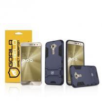 Kit Capa Armor e Pelicula de vidro dupla para Asus Zenfone 3 - ZE552KL - 5.5 Polegadas - Gorila Shield -