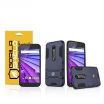 Kit Capa Armor e Película de vidro dupla para Motorola Moto G3 - Gorila Shield -