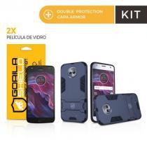 Kit Capa Armor e Película de vidro dupla para Motorola Moto X4  - Gorila Shield -