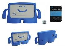 "Kit Capa Case Protetor Infantil Anti-Choque/Impacto Galaxy Tab E T113/T115/T116 7"" + Película de Vidro (Azul) - BD Net Imports"
