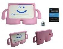 "Kit Capa Case Protetor Infantil Anti-Choque/Impacto Galaxy Tab E T113/T115/T116 7"" + Película de Vidro (Rosa) - BD Net Imports"