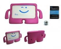 "Kit Capa Case Protetor Infantil Anti-Choque/Impacto Galaxy Tab Lite T110/T111 7"" + Película de Vidro (Pink) - BD Net Imports"