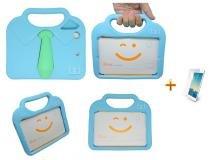 "Kit Capa Case Protetor Infantil Anti-Choque/Impacto ""gravatinha"" iPad Mini 2/3/4 + Película de Vidro (Azul) - BD Net Imports"