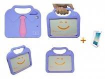 "Kit Capa Case Protetor Infantil Anti-Choque/Impacto ""gravatinha"" iPad Mini 2/3/4 + Película de Vidro (Lilás) - BD Net Imports"