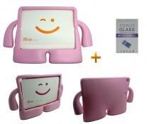 Kit Capa Case Protetor Infantil Anti-Choque/Impacto iPad Air 1/2 (iPad 5/6) + Película de Vidro (Rosa) - BD Net Imports