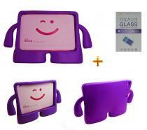 Kit Capa Case Protetor Infantil Anti-Choque/Impacto iPad Air 1/2 (iPad 5/6) + Película de Vidro (Roxo) - BD Net Imports