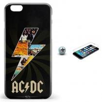 Kit Capa Case TPU iPhone 6/6S AC/DC acdc + Pel Vidro (BD01) - BD Net Imports